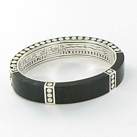 John Hardy Dot Silver Hinged Bangle Bracelet Ebony Wood Sterling Silver