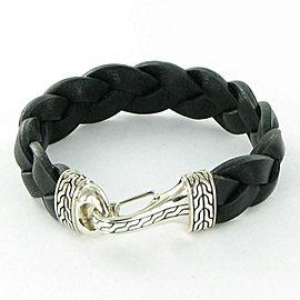 John Hardy Classic Chain Sterling Silver Leather Braided Hook Bracelet