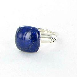 John Hardy Bamboo Orb Ring with 14mm Lapis Sterling Silver Sz 7
