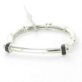John Hardy Bamboo Medium Brushed Silver Black Sapphire Hinged Bracelet