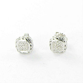 John Hardy Classic Chain Pave Diamond Stud Earrings Sterling Silver