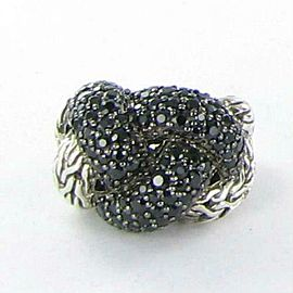 John Hardy Classic Chain Lava Large Braided Black Sapphire Ring Sz 7