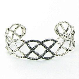 John Hardy Classic Chain 20mm Lava Braided Black Sapphire Cuff Bracelet