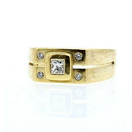 18k Yellow gold Princess Diamond Men's Ring Band Size 7.75