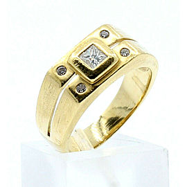 18k Yellow gold Princess Diamond Men's Ring Band Size 7.75