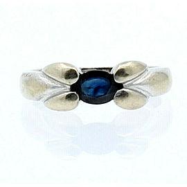 14k White Gold Sapphire Ladies Ring Size 3