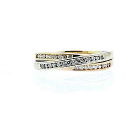 14k Yellow White Rose Gold .50ct Diamond Tri Color Rolling Ladies Ring Size 6.75