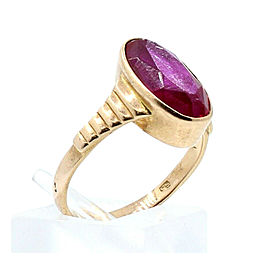 Vintage 14k Rose Gold Red Oval Stone Ladies Ring Size 7