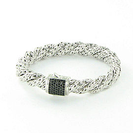 John Hardy Classic Chain Twisted Bracelet Black Sapphire Clasp Sterling Silver