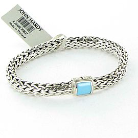 John Hardy Classic Chain 7.5mm Bracelet Turquoise Clasp Sterling Silver 7.5""
