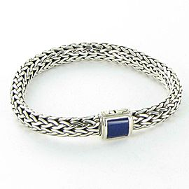 John Hardy Classic Chain 7.5mm Bracelet Lapis Clasp Sterling Silver 7.5 inch