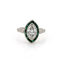 Vintage Art Deco 1.95ct Diamond & Emerald Platinum Marquise Ring Size 5