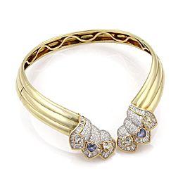 Estate 24carat Diamond Blue & Yellow Sapphire 14k Yellow Gold Collar Necklace