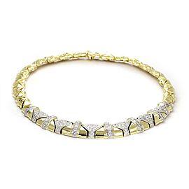 Estate 5.50ct Diamond 18k Gold Graduated Geometric Link Collar Necklace
