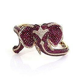 18k Rose Gold 19.94ct Diamond & Pink Sapphires Elephant Bracelet