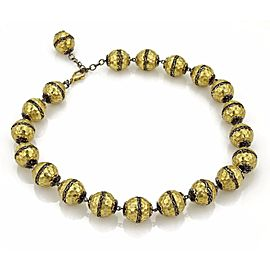 Estate 18k Yellow Gold Hammered Scroll Design Large Beaded Necklace