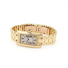 Cartier Tank Americaine 1710 18k Yellow Gold Ladies Quartz Wrist Watch