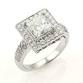 Princess Cut 2.03 H VS1 Diamond Solitaire wAccent 18k Gold Ring