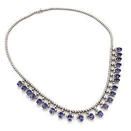 Estate 41 Carats Tanzanite & Diamond 18k White Gold Dangle Necklace