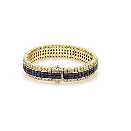 Estate Diamond & Invisibly Set Princess Sapphires 18k Yellow Gold Bracelet