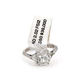 Diamond Solitaire w/Trilions 2.02ct F-SI2 Radiant Platinum Engagement Ring