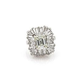 5.44ct Emerald Cut Diamond Platinum Solitaire w/Accent Engagement Ring