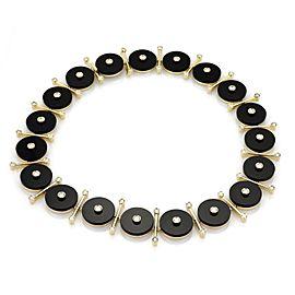 Estate 5.50ct Diamond Onyx 18k Yellow Gold Fancy Button Link Necklace