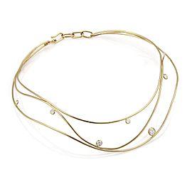 Tiffany & Co. Peretti Wave Diamond 18k Yellow Gold 3 Wire Necklace Retail $8000