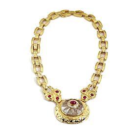 59350 Estate 4.50ct Ruby & Diamond Quartz Onyx Changeable Pendant Necklace