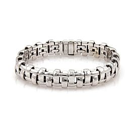 Tiffany & Co. Italy 18k White Gold 12mm Wide Basket Weave Style Bracelet