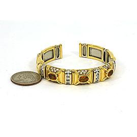 Estate 8.40ct Diamond & Citrine 18k Two Tone Gold Fancy Design Bracelet