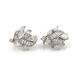 Platinum 5.00 Carat Diamond Floral Design Post Clip Huggie Earrings