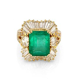 Estate 7.40ct Diamond & Emerald 18k Yellow Gold Cocktail Ring Size 6