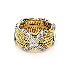 Tiffany & Co. Schlumberger Diamond 18k Gold Platinum 6 Rows X Band Ring Re$7900