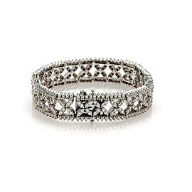 Estate 8ct Diamond 18k White Gold X Floral Link 14mm Wide Bracelet 63 grams