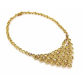 Estate 2.85ct Diamond 18k Yellow Gold Fancy Textured Open Drape Necklace