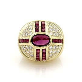 Estate 7.80ct Ruby & Diamond 14k Yellow Gold High Dome Ring Size 5.5