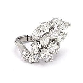 Estate 5.20ct Diamond Platinum & 14k Gold Fancy Cluster Diamond Ring