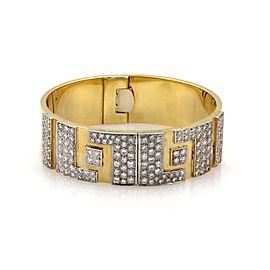 Estate 3.50ct Diamond 18k Two Tone Gold 19.5mm Wide Flex Open Bracelet