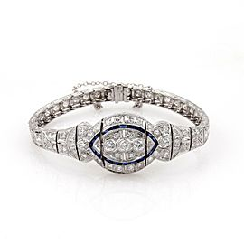 Art Deco 2.75ct Diamond Sapphire Platinum Fancy Milgrain Bracelet