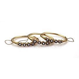 Vintage 3.00ct Diamond Set of 3 14k Yellow Gold Fancy Bangle Bracelets