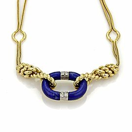 Estate Diamond & Lapis 18k Two Tone Gold Double Woven Fancy Chain Necklace