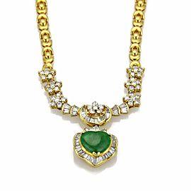 Estate 2ct Diamond Heart Jade Pendant 18k Yellow Gold Fancy Link Necklace