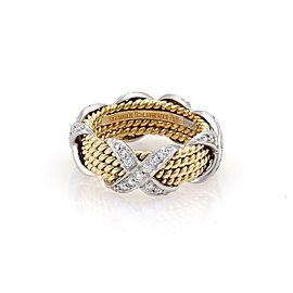 Tiffany & Co Schlumberger 18k & Platinum 4 Row X Ring Size 6.25 Retail $6900