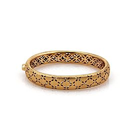 Roberto Coin Granada Diamond 18k Rose Gold 11mm Wide Floral Bangle Bracelet