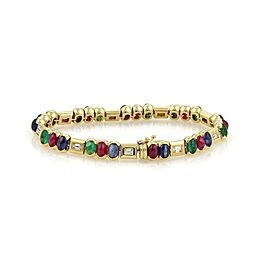 Estate 14.80ct Diamond Emerald Sapphire & Ruby 18k Yellow Gold Bracelet