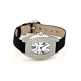 Chopard Tonneau 2.00ct Diamond Bezel 18k White Gold Ladies Watch Quartz