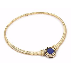 French Estate 1ct Diamond Lapis Octagon Pendant 18k Yellow Gold Omega Necklace