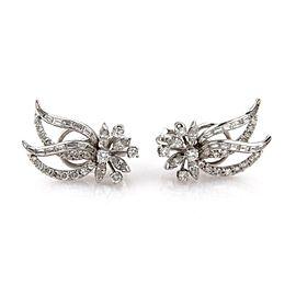 Platinum 5ctw Diamond Leaves & Flower Post Clip Earrings