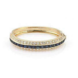 Mayor's 11.50ct French Cut Sapphire & Diamond 18k Dome Bangle Bracelet